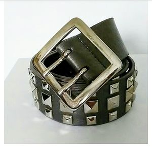 Accessories - Gray and Silver Faux Leather  Studded Belt